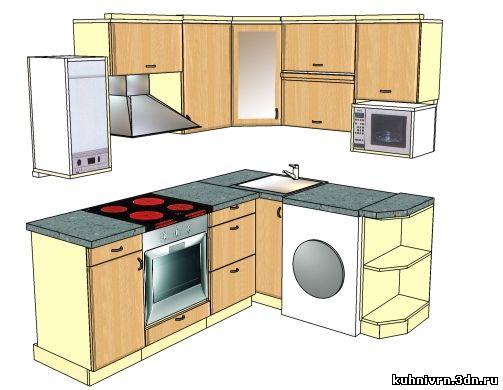 и дизайн маленькой кухни с колонкой.